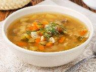Рецепта Курбан чорба (супа) по врачански с овнешко (овче) месо, картофи, ориз и чушки